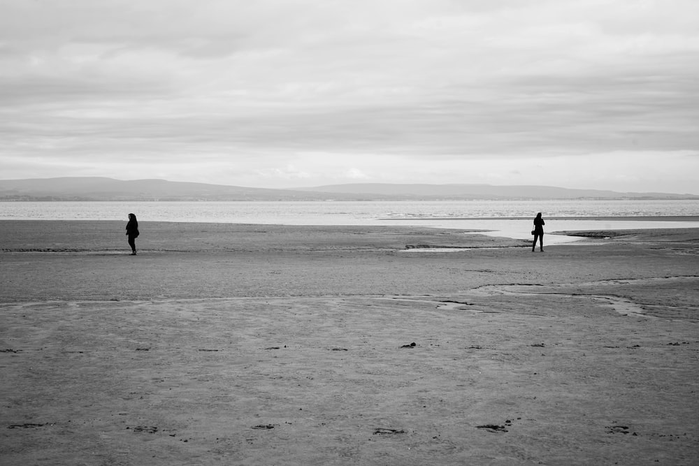 grayscale photography of two person on shore