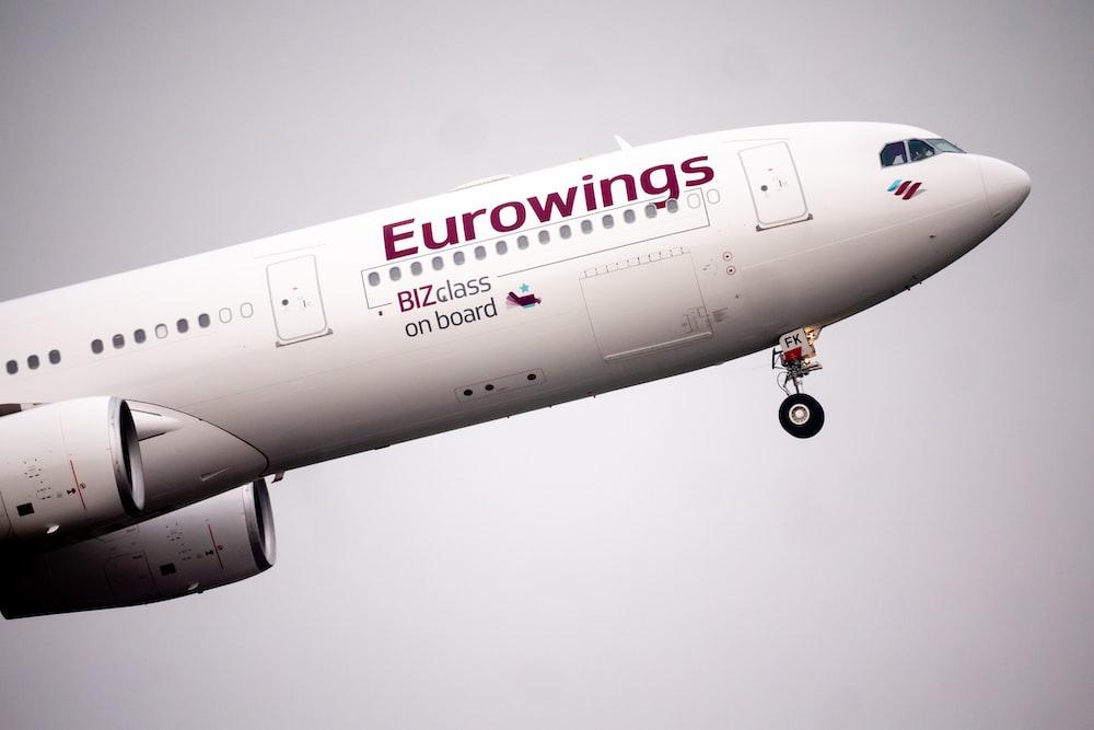 white Eurowings plane