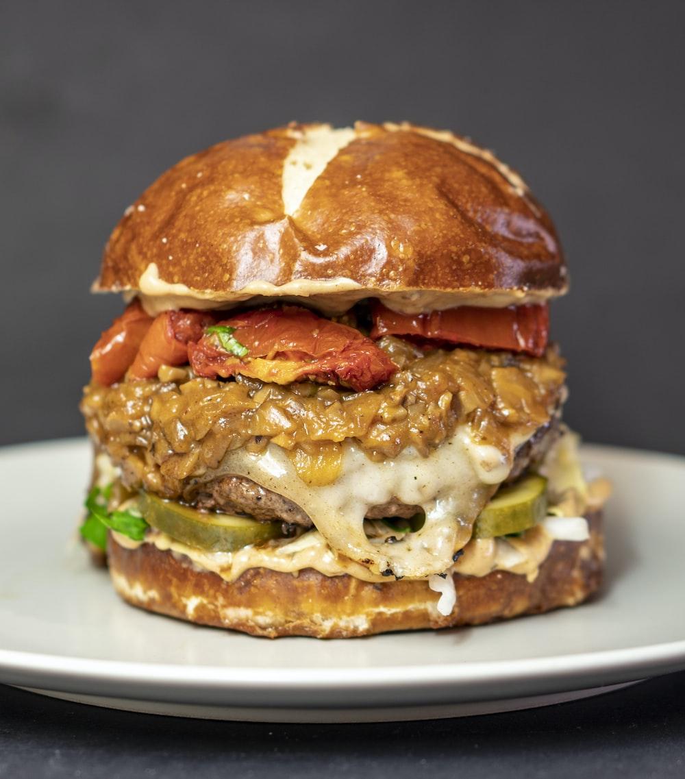 burger on white plate