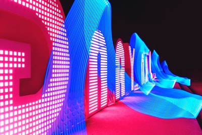 red and blue neon lights luminescence zoom background
