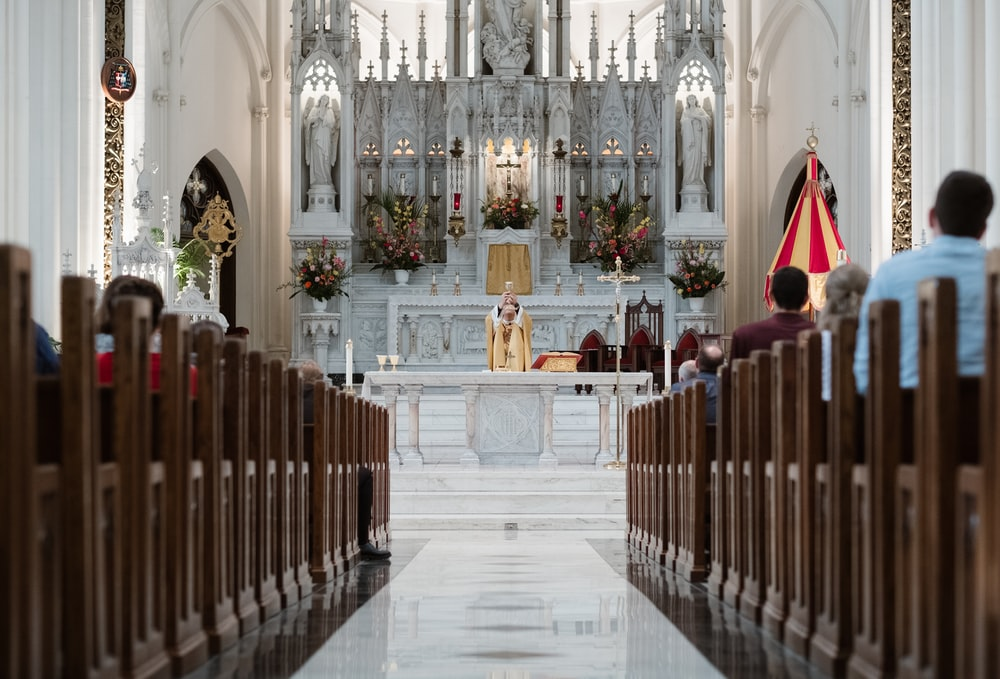 interior of white, gray and brown church