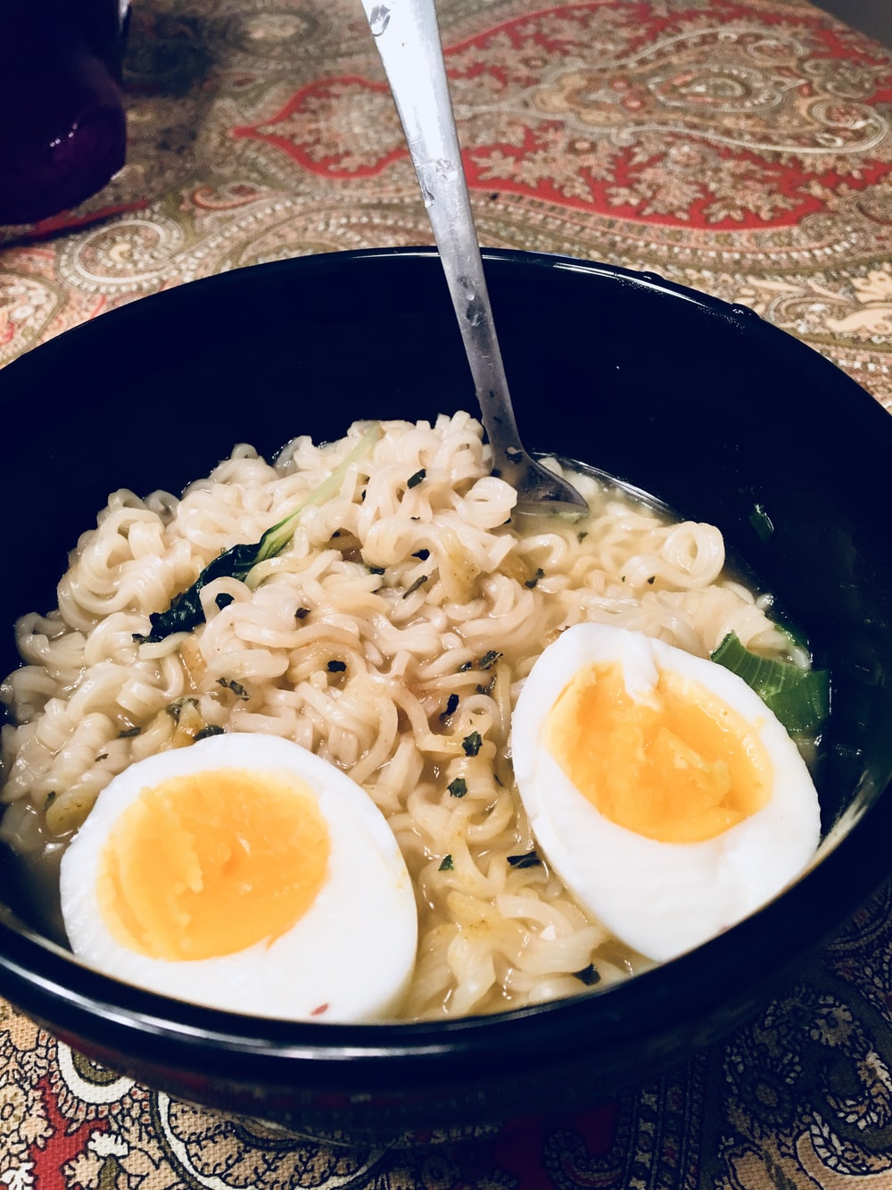 noodle with hard boiled eggs