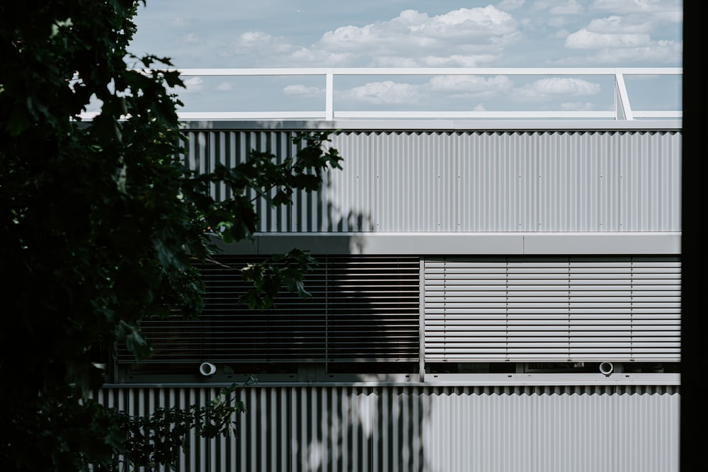 grayscale photography of building near tree