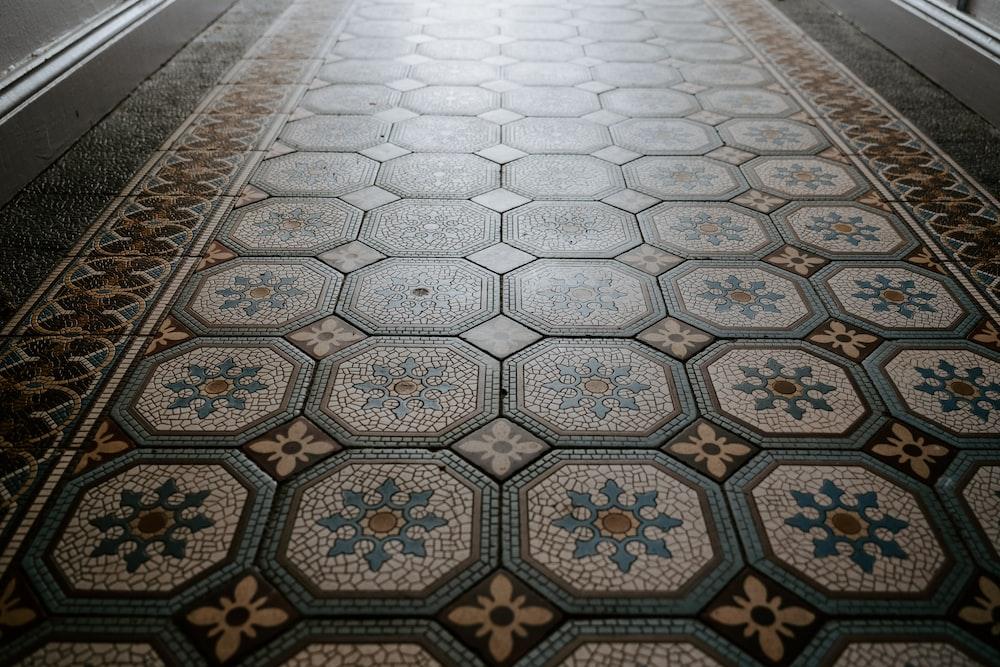 multicolored ceramic tiled floor