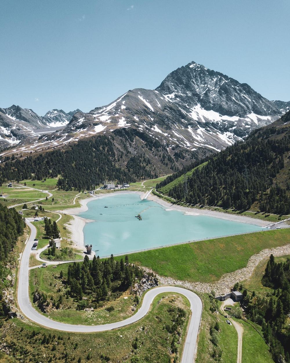 high-angle photography of blue lake