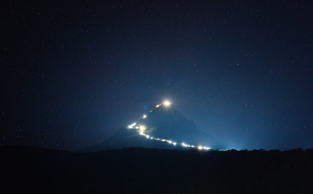 white and black mountain during nighttime
