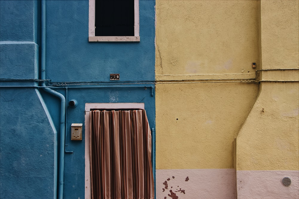 yellow and blue paint wall
