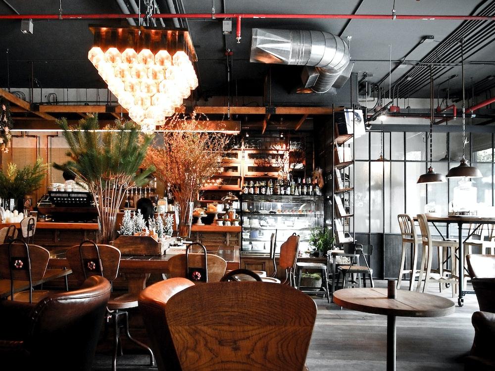 lighted chandelier inside cafe