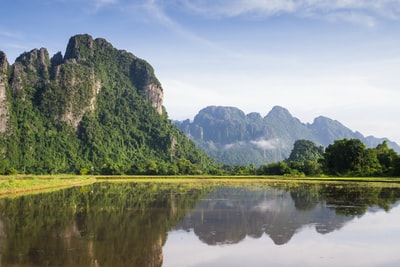 lake with trees on side laos teams background