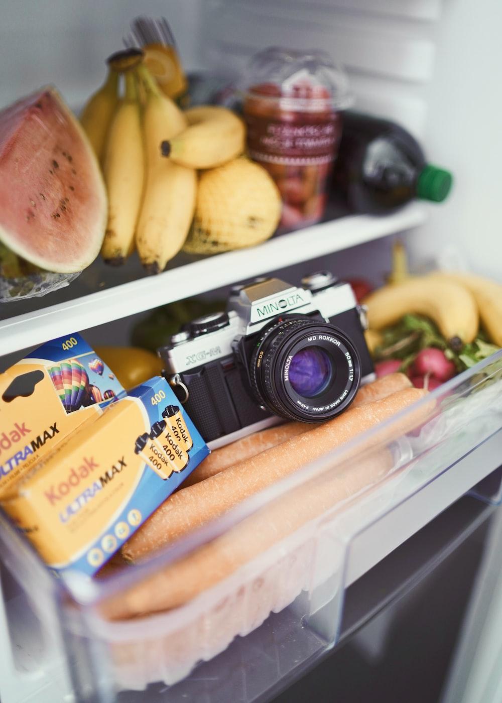 SLR camera inside refrigerator