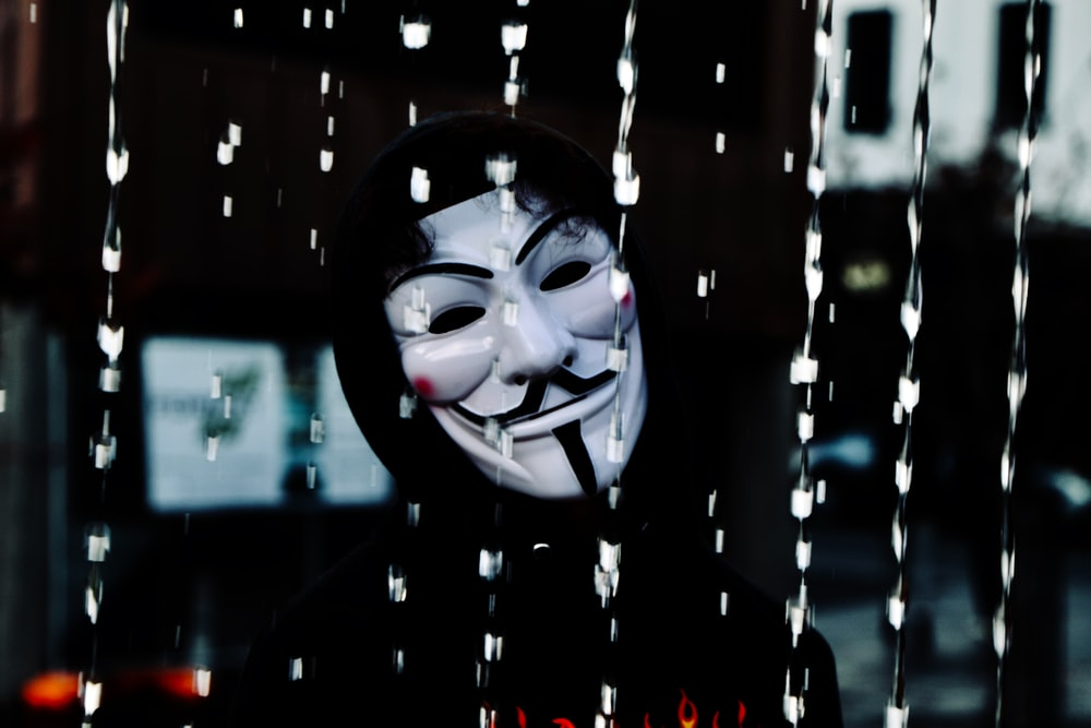 man wearing Guy Fawkes Mask