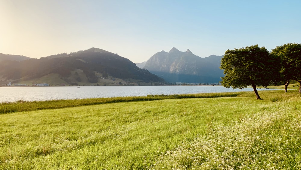 landscape photo of green-grass fields near body of water with view of mountains