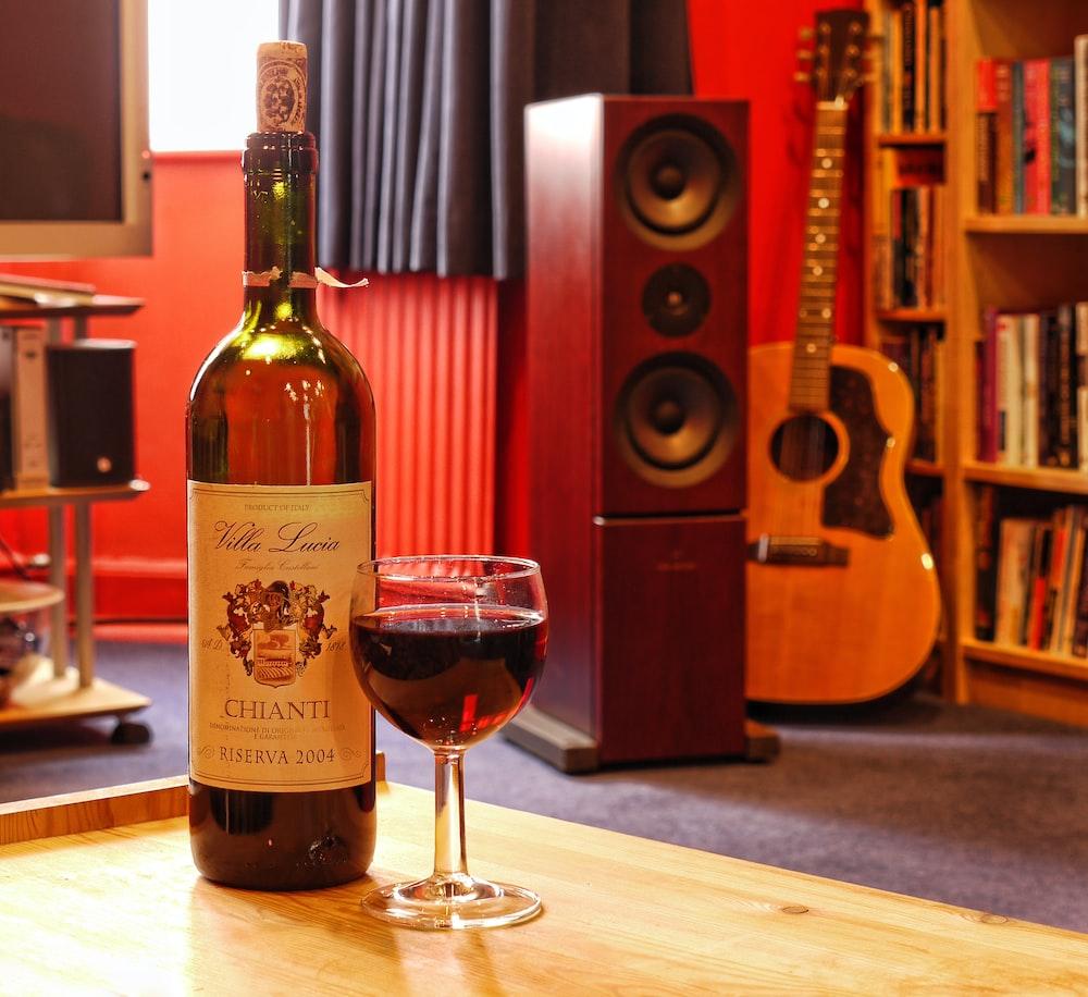 wine bottle next to wine glass