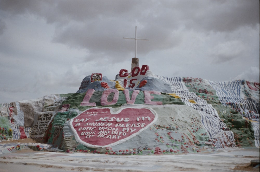 white and pink rock monument