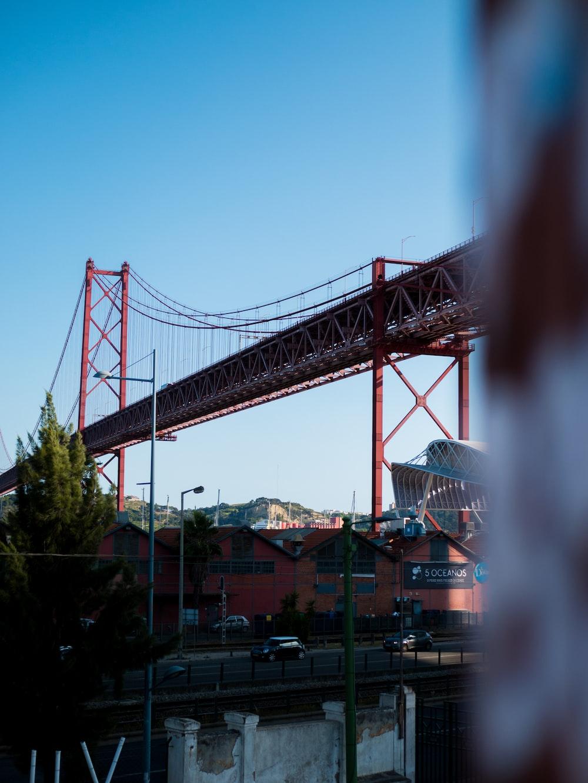 grey and brown metal bridge