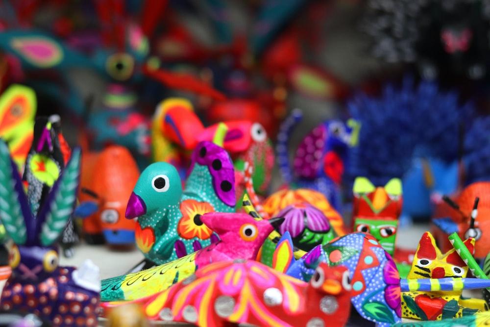 multicolored bird toys lot