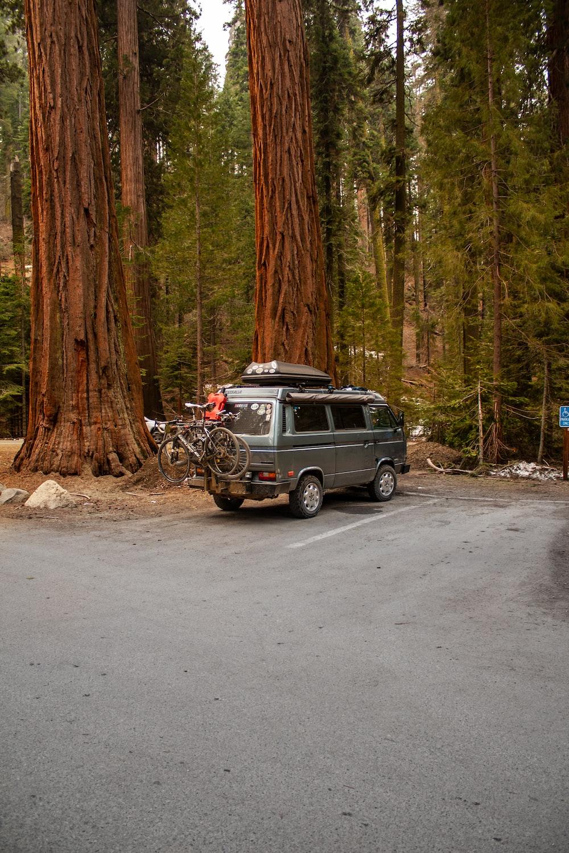 gray van on road