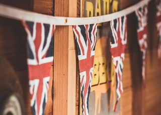 British flag banners hanging on white string