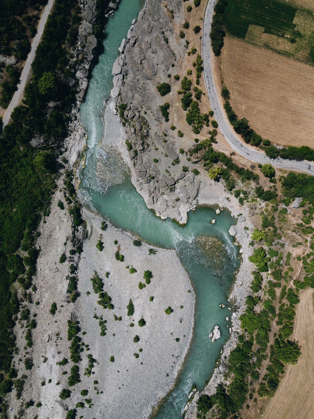 aerial photo of winding river