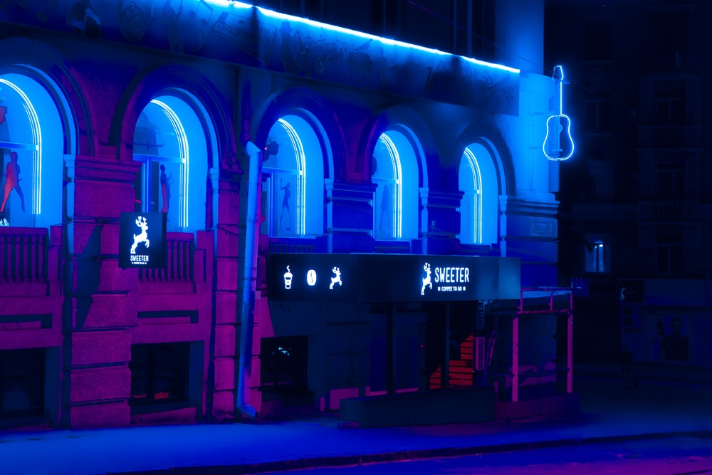 blue and violet store front