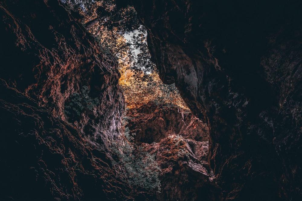 brown rock cave