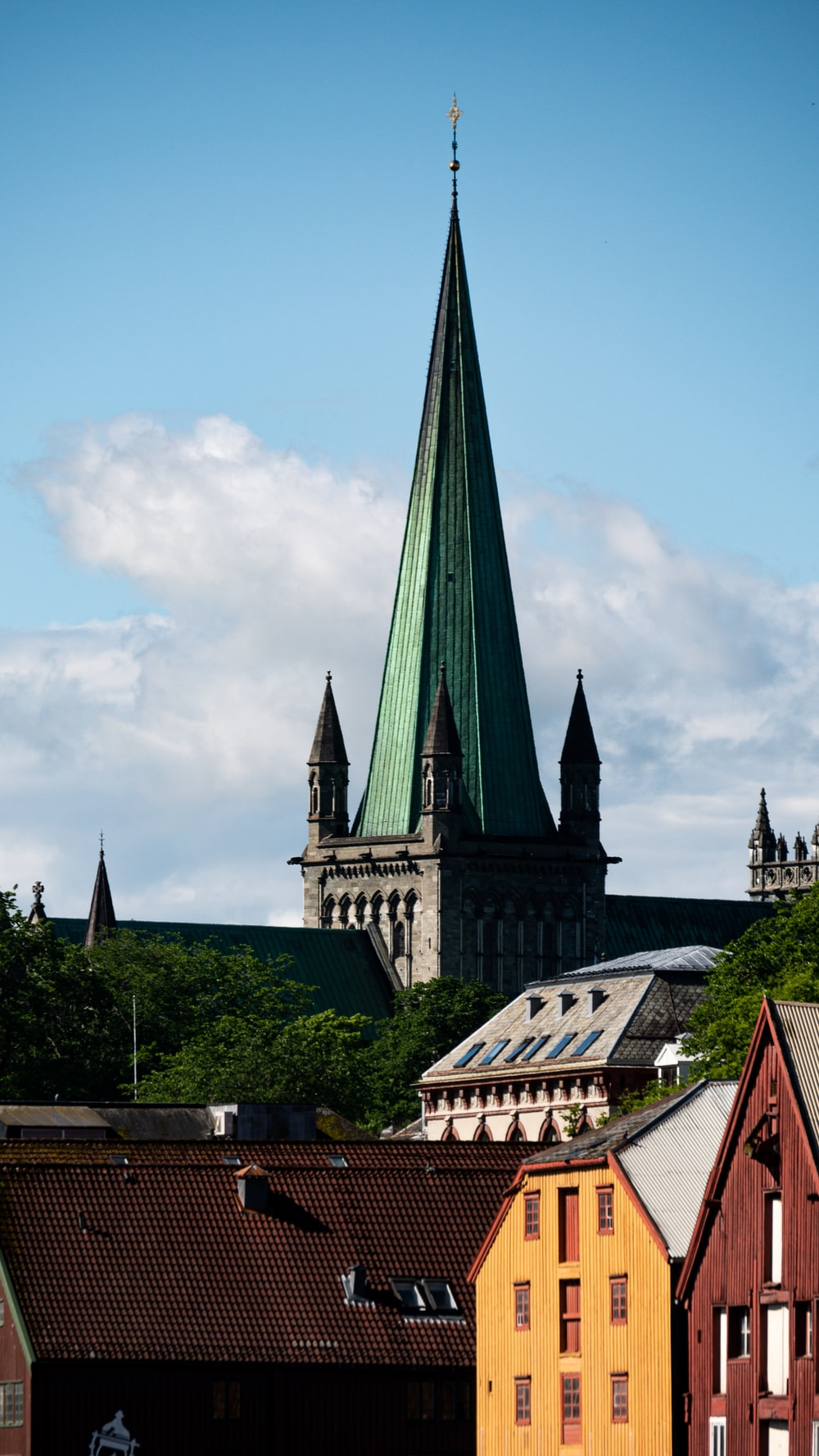 green and grey church steeple