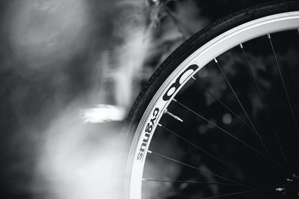 grey alloy bike spoke wheel with tire