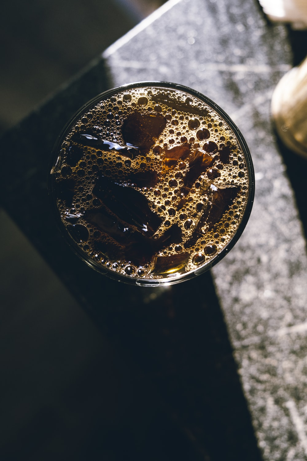 iced cold drinks in drinking glass