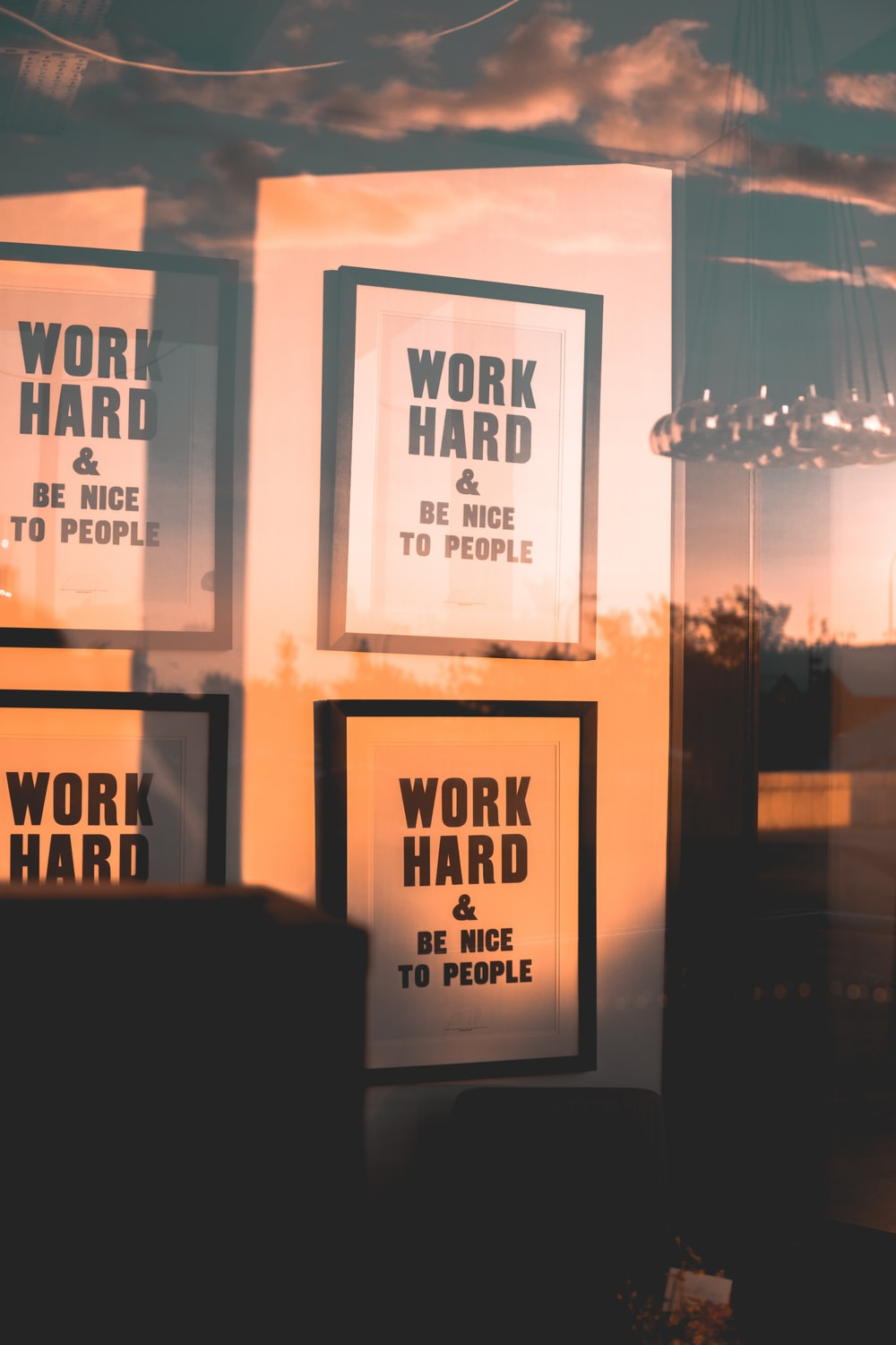 Work Hard & Be Nice To People wall quote posters