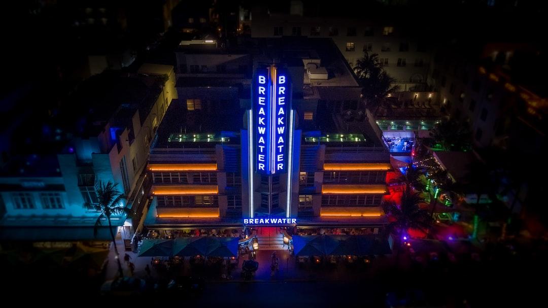 South Beach Miami Nightlight.  Breakwater Hotel.