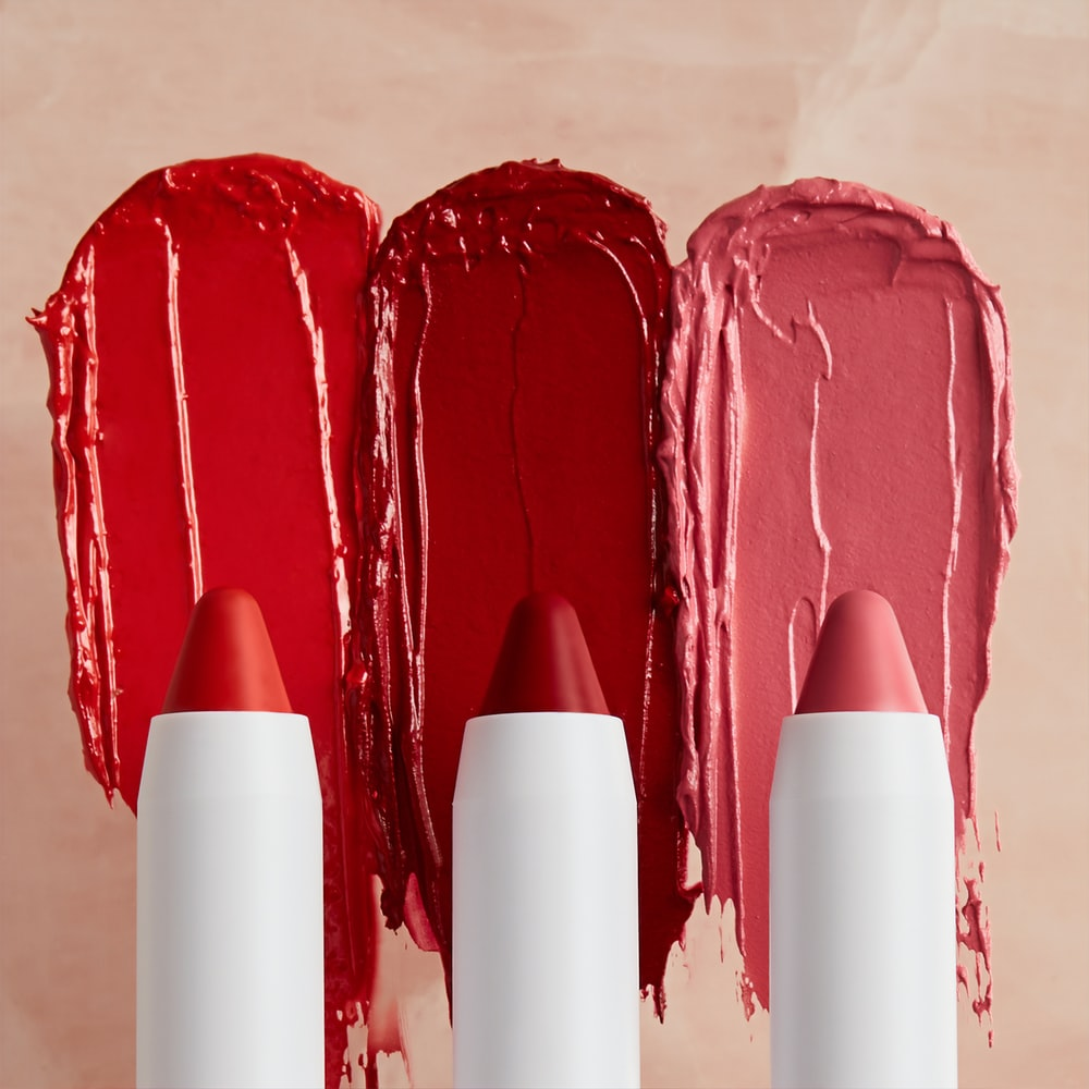 three lipsticks in assorted colors