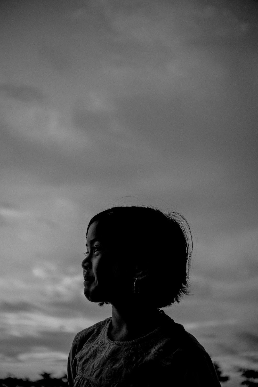 greyscale photography of girl