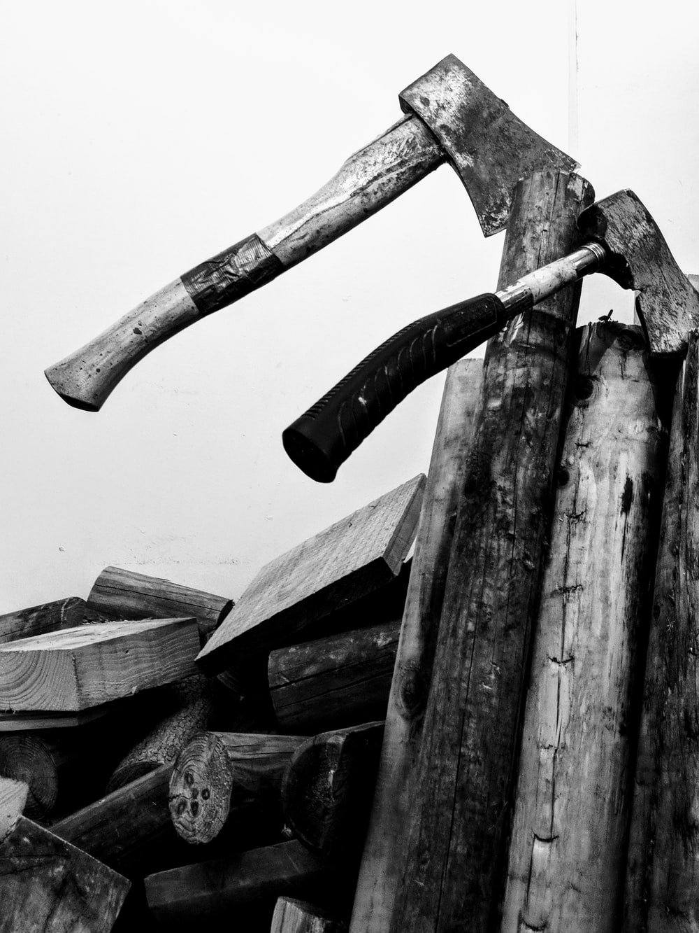 axe on wood