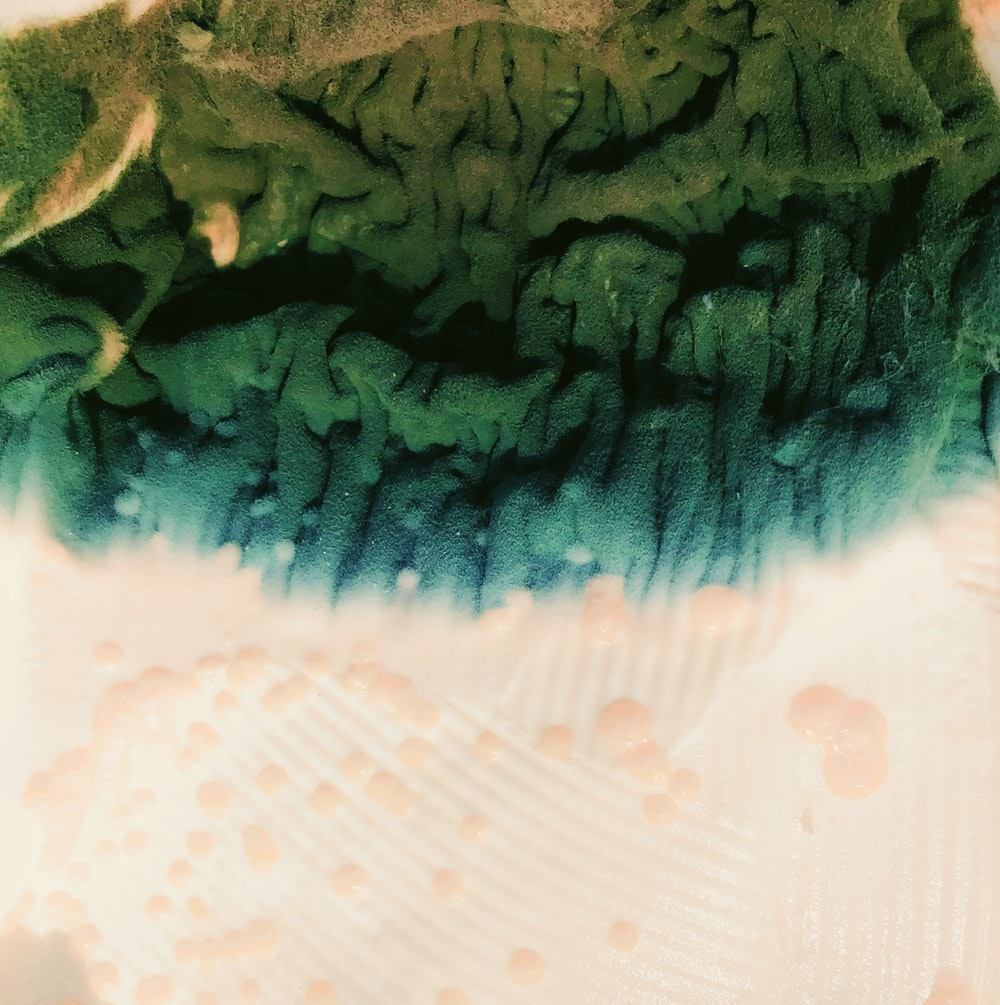 green and white textile