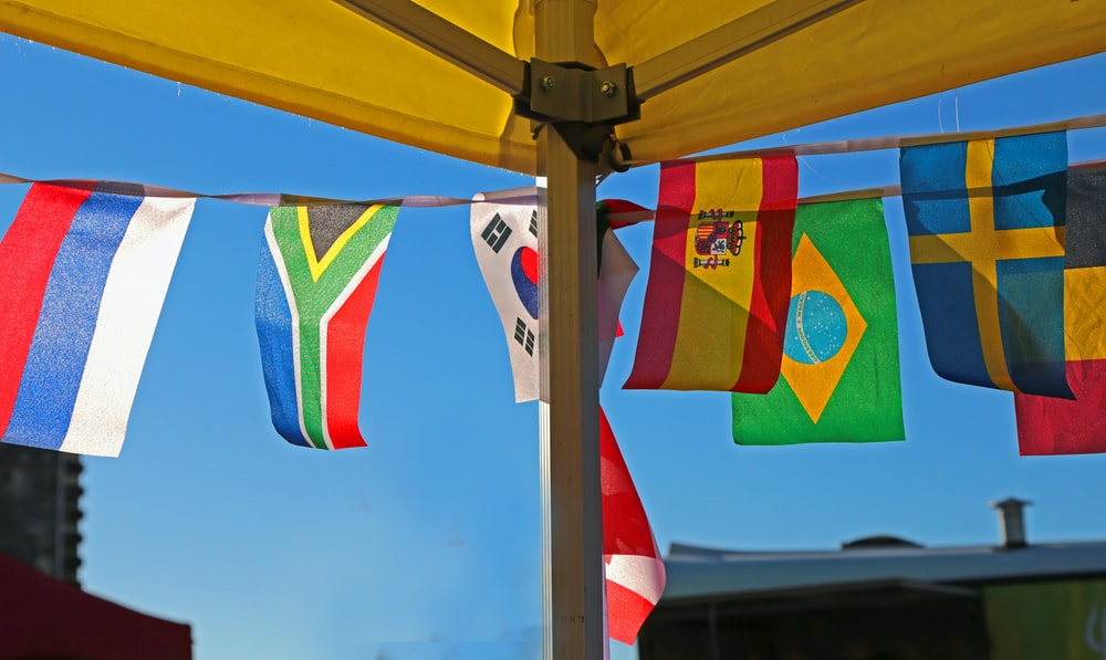 assorted-color flags banners