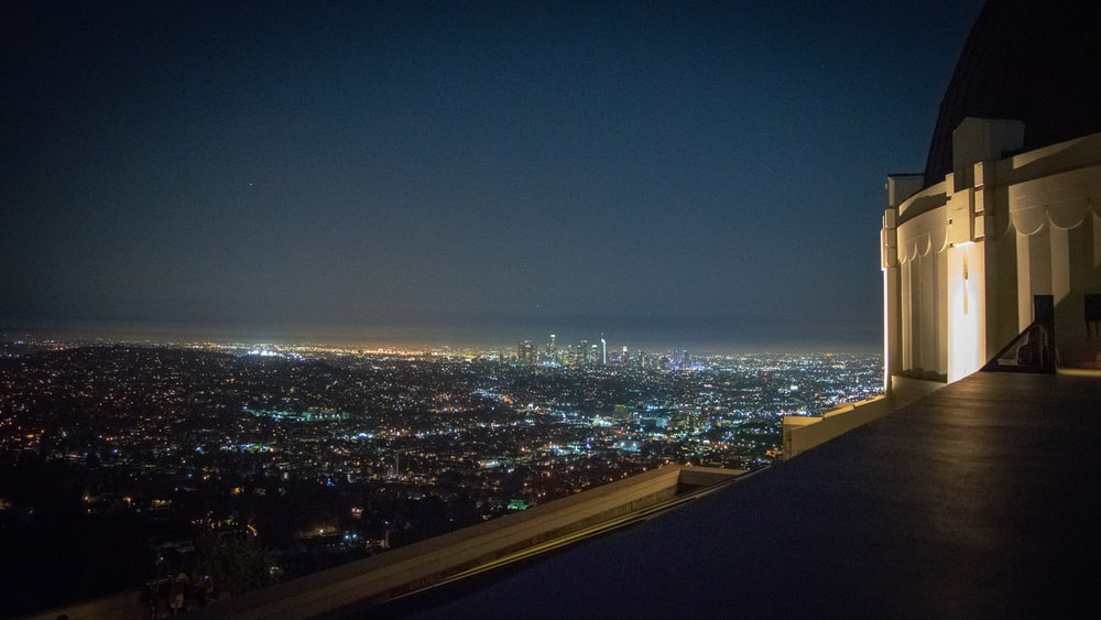 aerial photography of buildings during nighttime