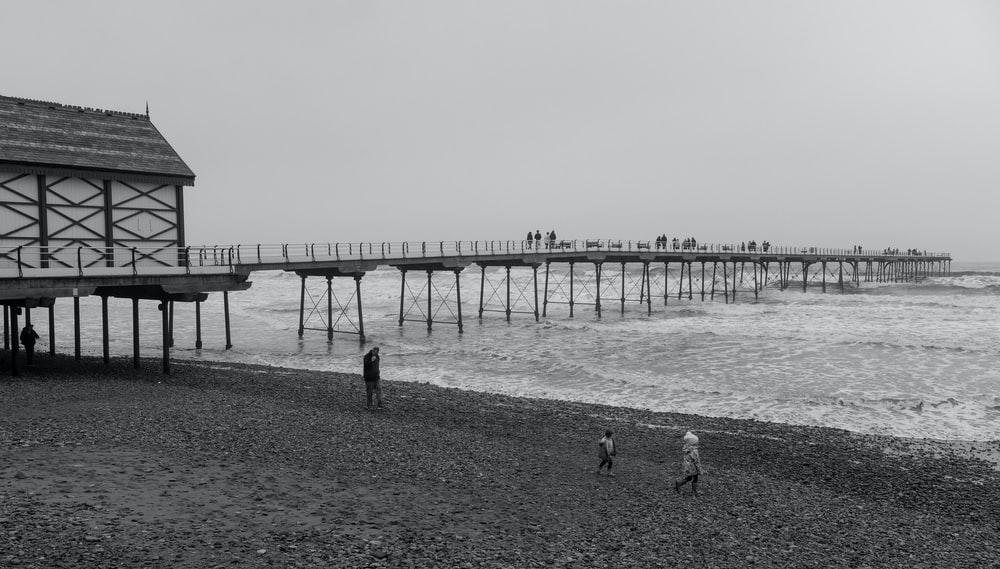 grayscale photography of bridge surrounded by body of water