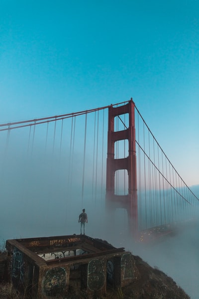 Huper Photos - Joshua Earle standing before the Golden Gate Bridge.