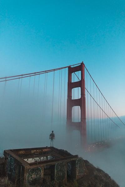 Huper Photos - Joshua Earle standing before the Golden Gate Bridge.