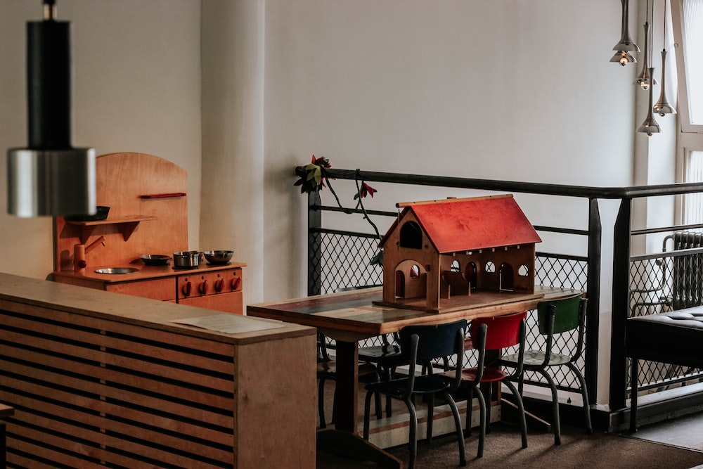 red and brown house miniature
