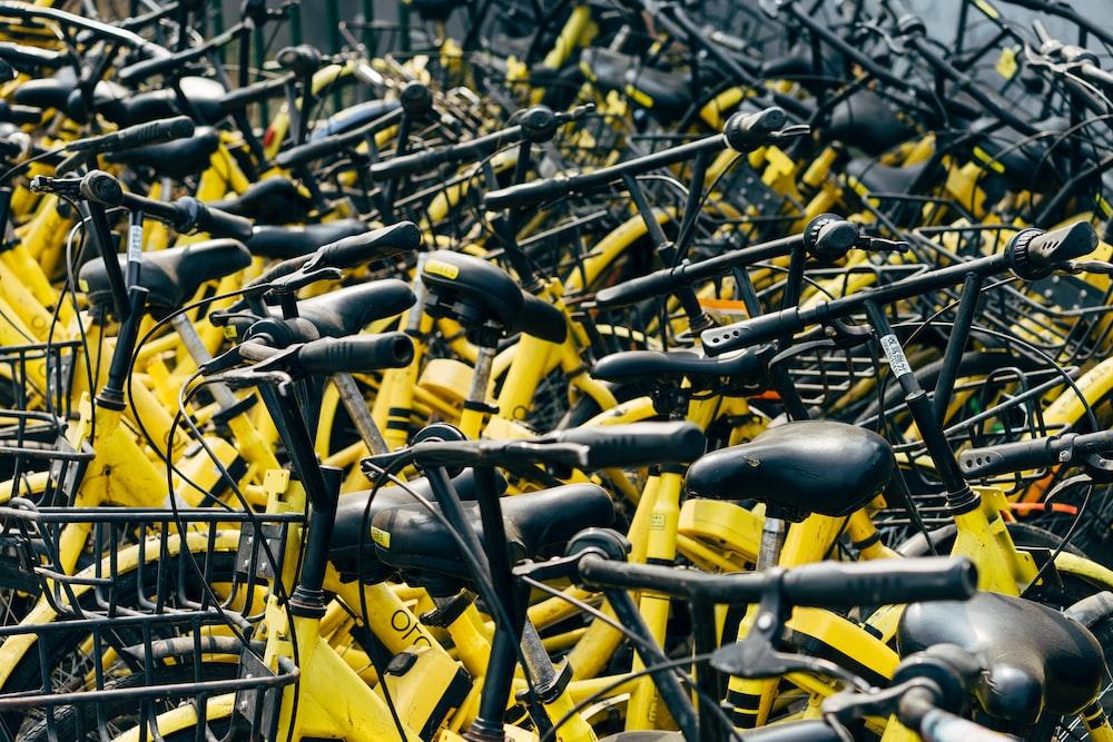 yellow and black bike lot