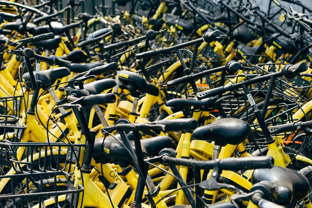 yellow and black bike lot