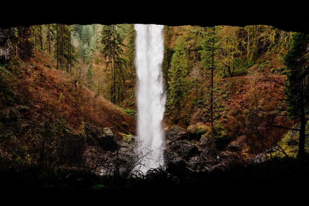 time lapse photo of waterfalls