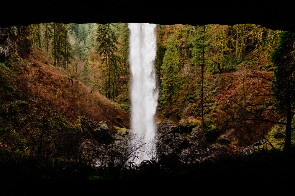 time lapse photo of waterfalls