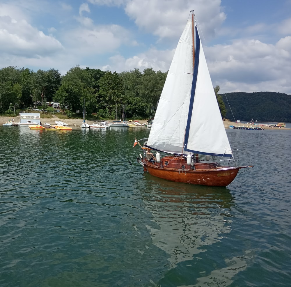 white and brown sailboat