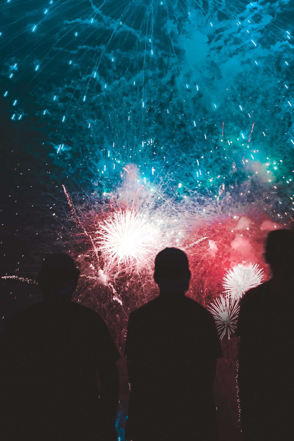 teal and red fireworks