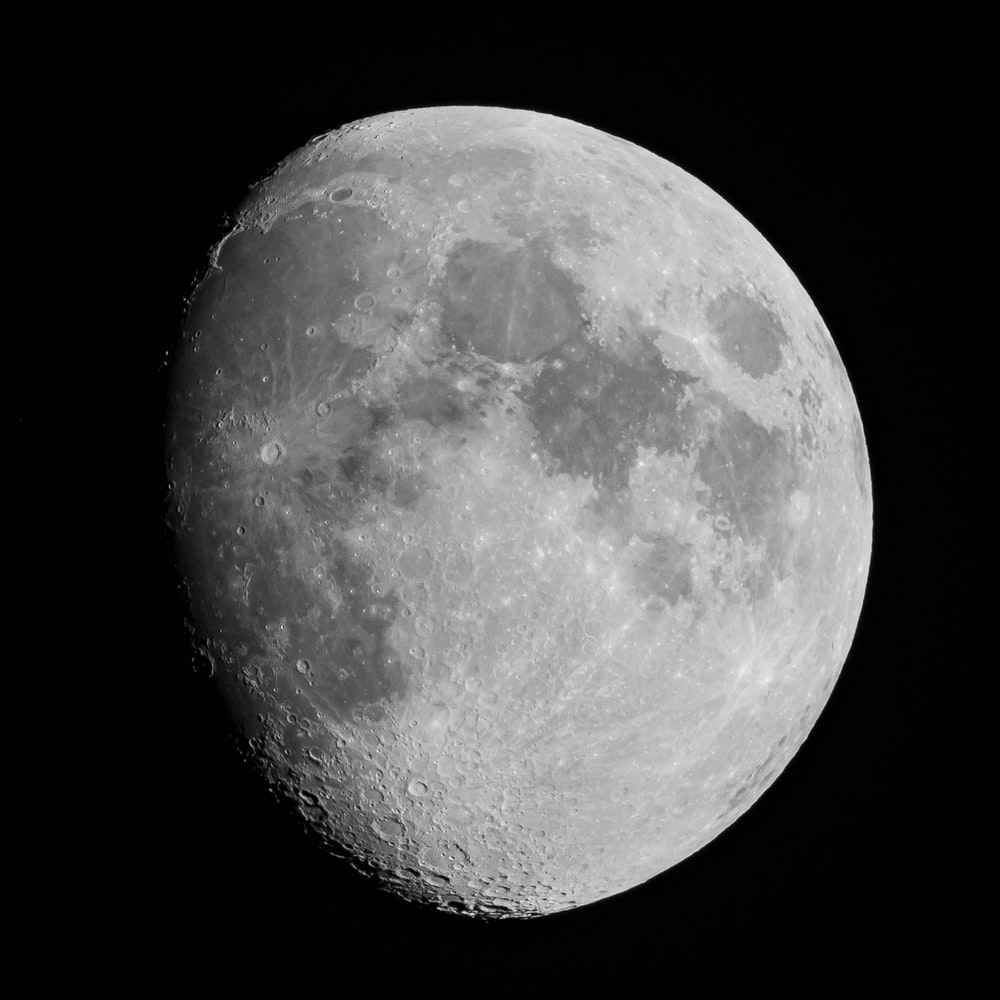 gray scale photo of moon