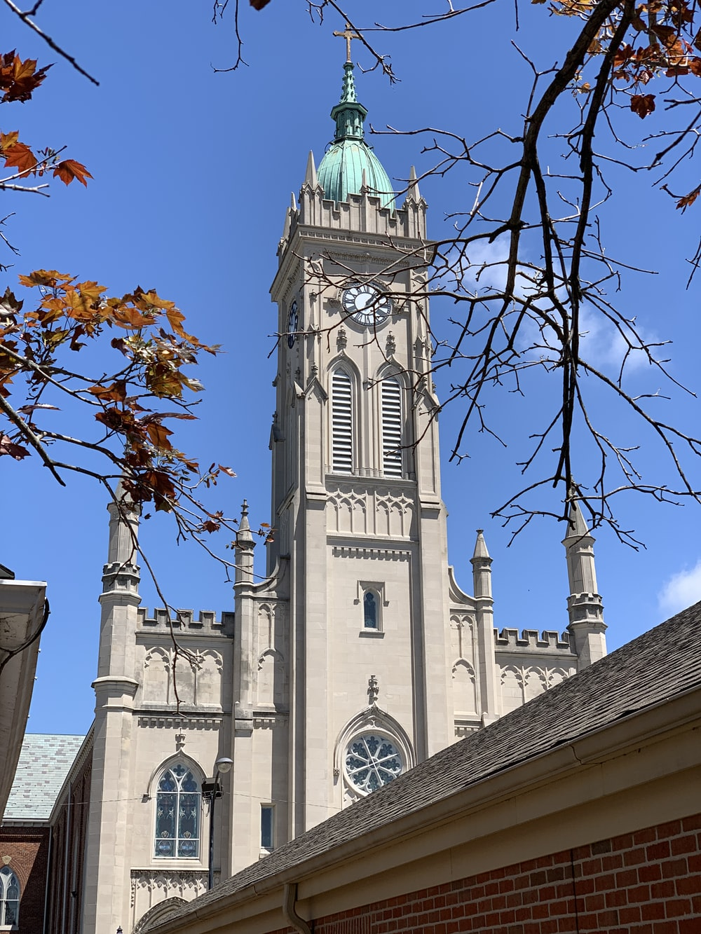 white and teal church