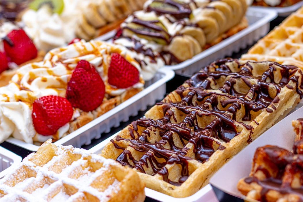 Famous Belgian waffles in Liege