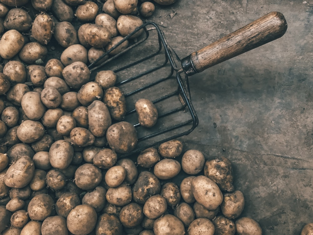 pile of potatoes with shovel